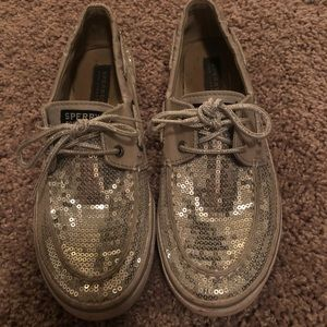 Silver sparkly sperry topsiders